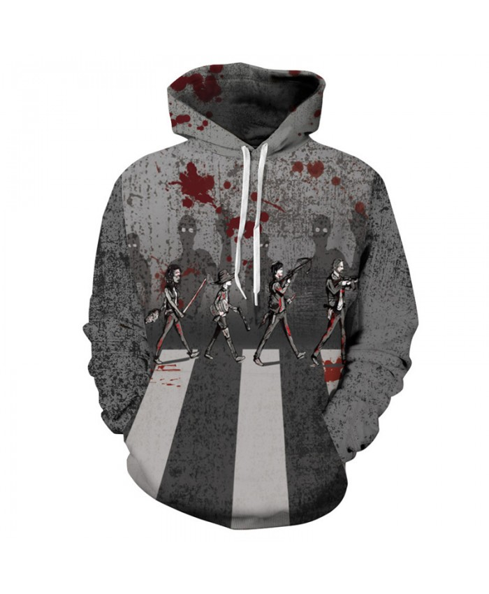 Zombie Legion Halloween Fashion Hooded Pullover Grey Sweatshirt